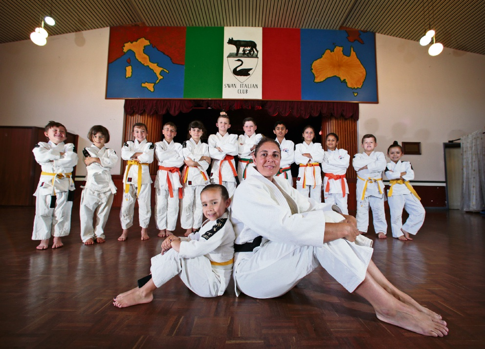 Skarlet Scott (front) with instructor Dawn Santos and other members of Santos Judo Academy. Picture: David Baylis d477292