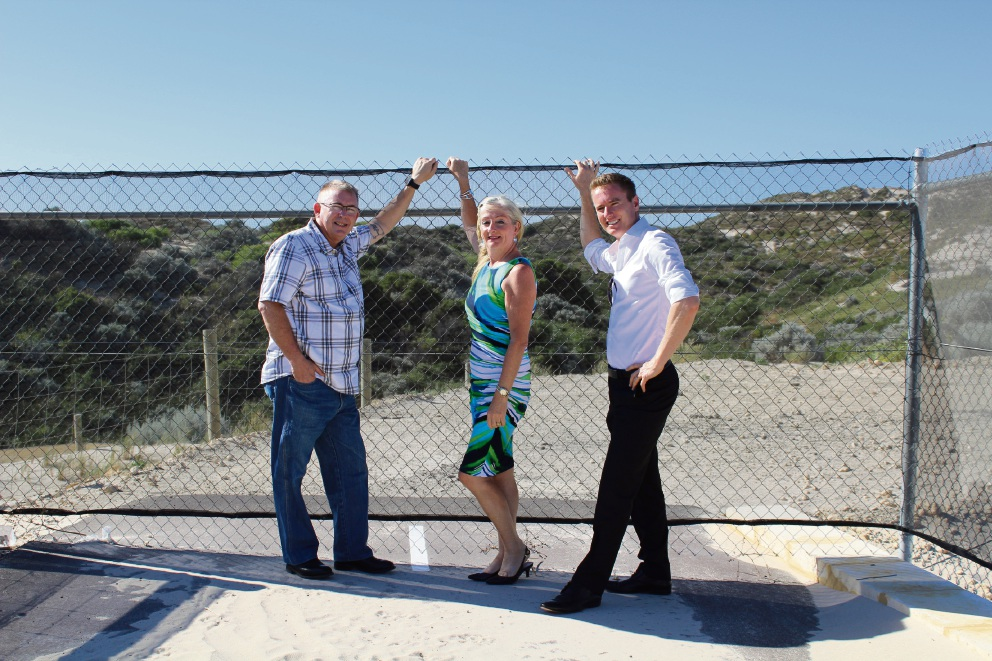 Burns Beach MLA Mark Folkard, Wanneroo Mayor Tracey Roberts and Joondalup Mayor Albert Jacob.