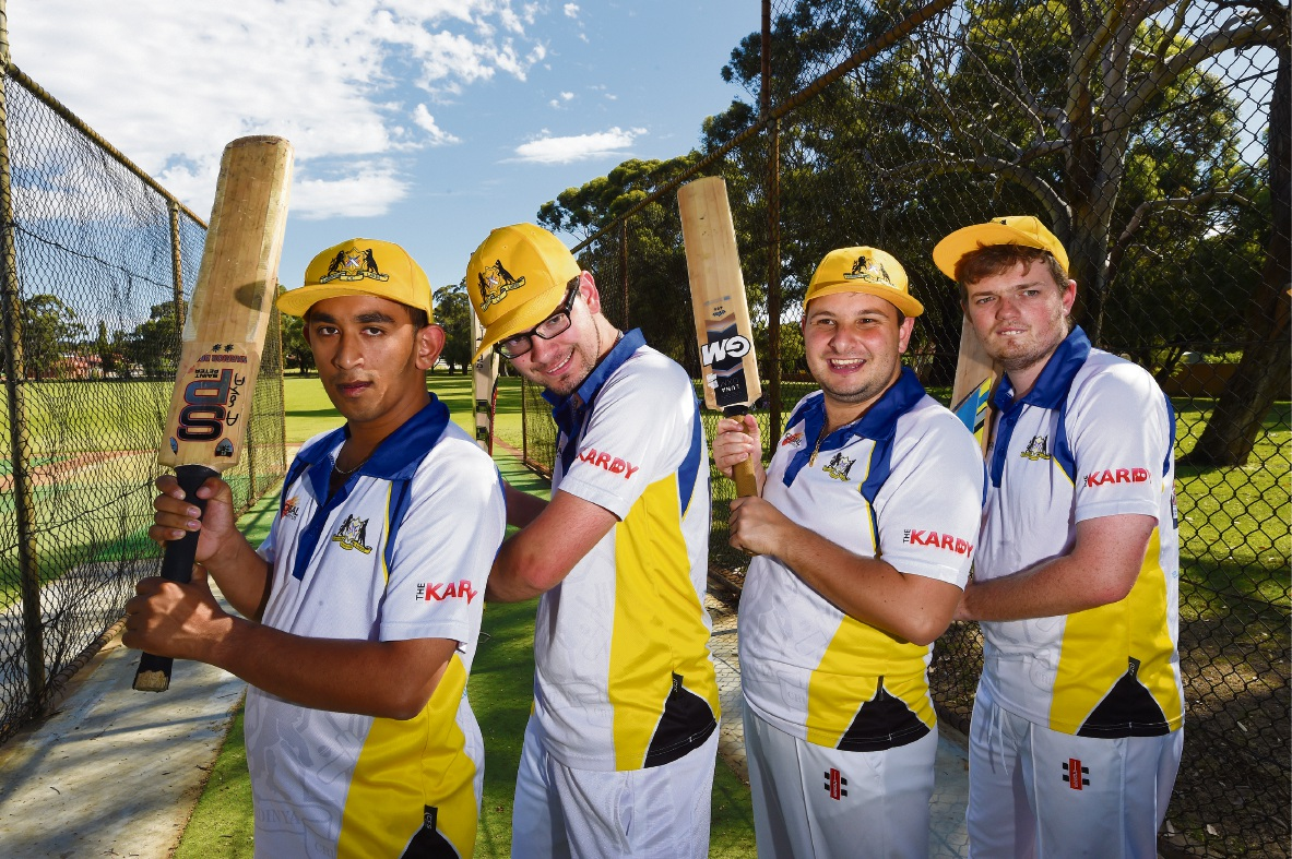 Kardinya Lakes Cricket Club players Dylan Douyer'e, Regan McCoy, Matthew Barbaro and Damien Timms.