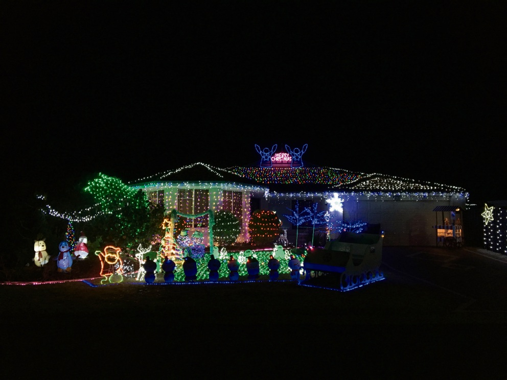 Christmas lights at 53 Waring Green in Clarkson.