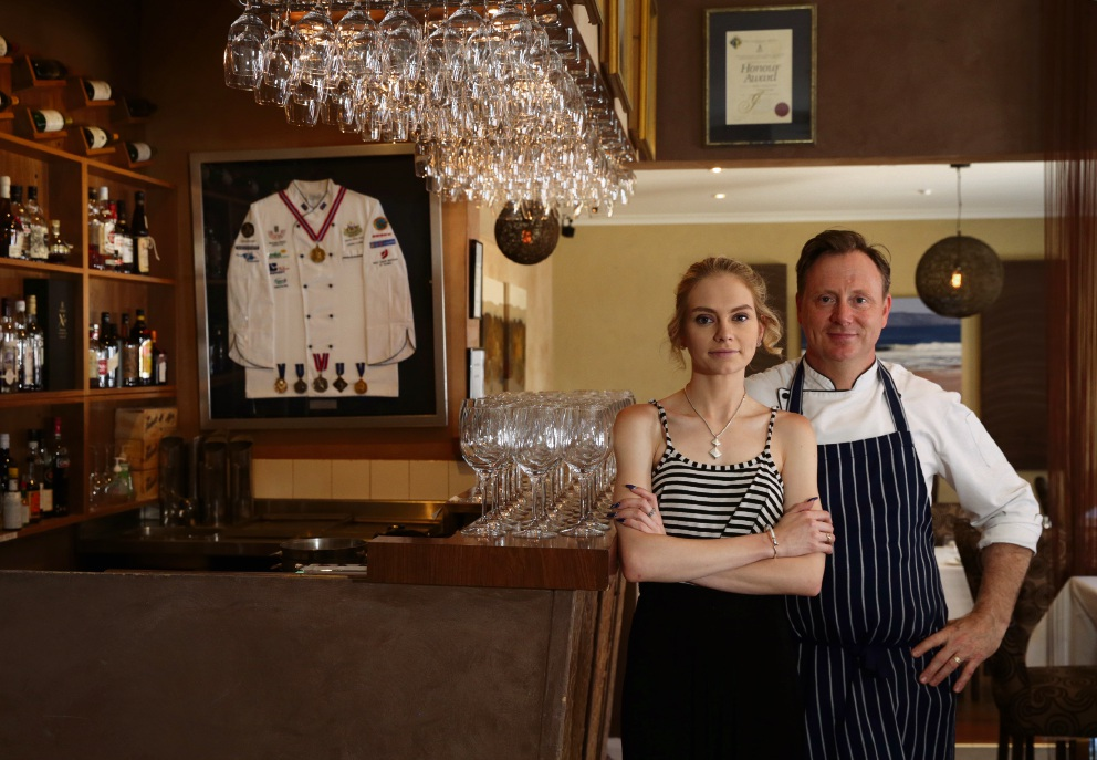 Chef Stephen Clarke, of Clarke's in North Beach with his daughter Jasmine. Picture: Martin Kennealey d477009