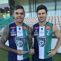 Peel Thunder's Gerald Ugle (left) and Ben Howlett. Ugle made his WA debut in the win over South Australia.