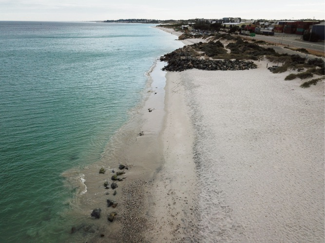 The debris is spreading north from Sandtracks (bottom) to Port (middle) and Leighton (top) beaches, and old sea defence boulders are uncovered in the shallows  Picture: Andrew Ritchie