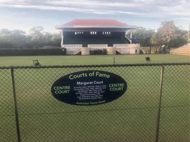 Margaret Court at Royal Kings Park Tennis Club.