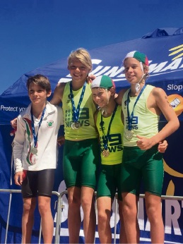 Trigg Island SLSC gold medallists in the under-12 boys beach relay: Fionn Zaffino, Tomas Bosmans, Tristan Heathcote-Mark and  Benjamin Toms.