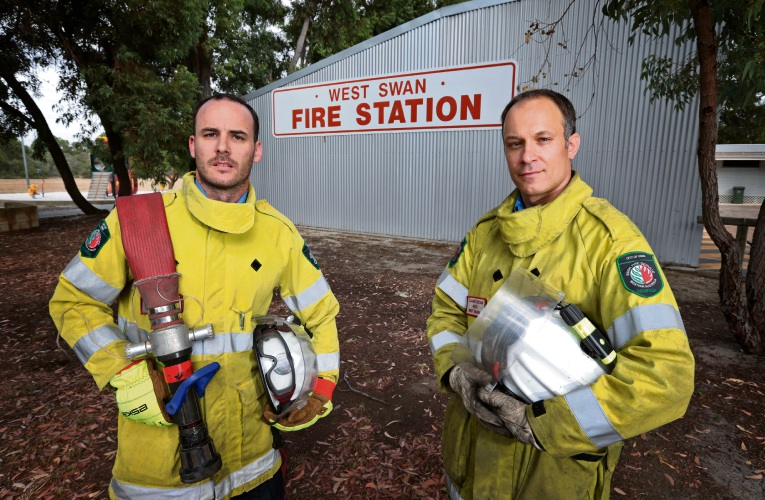 West Swan Volunteer Bush Fire Brigade members Kirk Christie and Xavier Cousin. Picture: David Baylis www.communitypix.com.au d480990