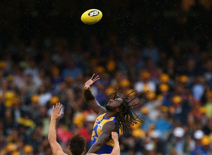 High-flying West Coast ruckman Nic Naitanui is unlikely to play again this season. after injuring his knee on Sunday. Picture: Paul Kane/Getty Images