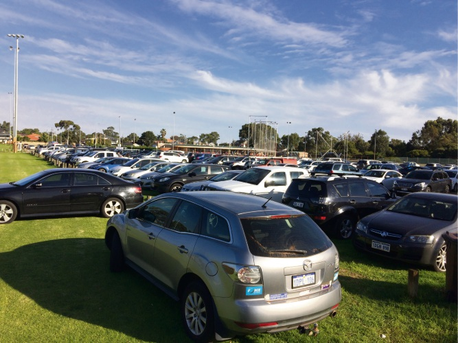 Rugby game packs carpark at Melville Bowling Club