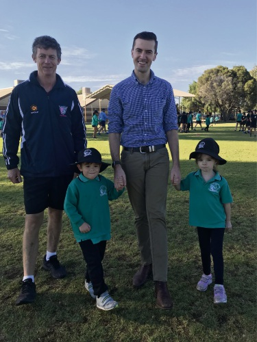Halls Head PS PE specialist Adrian Perry, Ben Ball,  Zak Kirkup and Lyla Grimlinger.
