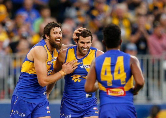 Josh Kennedy congratulates Jack Darling after kicking a goal. Picture: Paul Kane/Getty Images