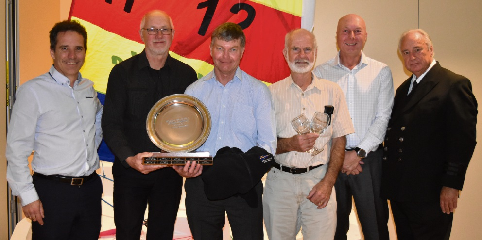 Hillarys Yacht Club 2017-18 club champion Covert Operation crew members Dene Marfleet, Graham Atkinson, Bart Brouwer, Andy Hill and Gary Illing with Vice Commodore Brett Bailey.