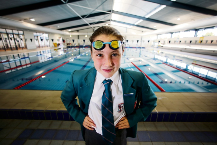Jaymie Lutton (11) of Ballajura. Jaymie is a year 7 student at Chisholm Catholic College and she has been selected to represent WA at the 2018 School Sport Australia Swimming Championships in Hobart in July. Photo: David Baylis