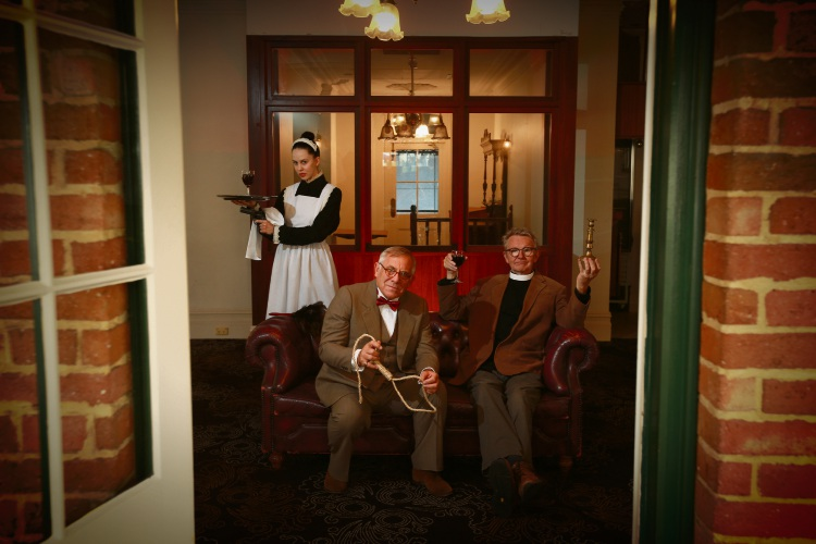Pepa Saunders as Kate the Maid (North Perth), Ingle Knight as Rev Smeeton (Fremantle) and artistic director Robbie Burns (Melville). Picture: Andrew Ritchie d482848