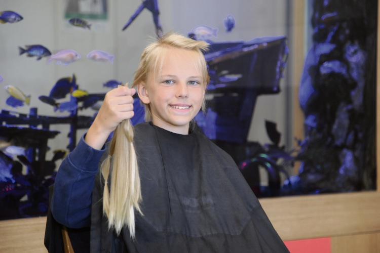 Jack Barns cut off his hair to donate for wigs. Picture: Chris Kershaw.