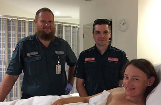 Katherine Fernandes with St John paramedics Evert and Dave.