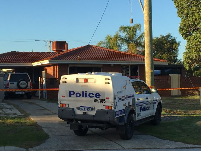 Police at the scene this morning. Picture: Ben Smith