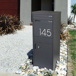 This letterbox features a parcel drop box.