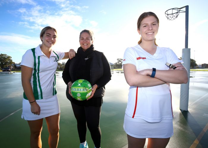 Netball umpires Karri Leavy and Sara Becker, along with committee member Karen Wheatland, are appreciating the new values and improved behaviour throughout Fremantle Netball Association. Picture:Matt Jelonek