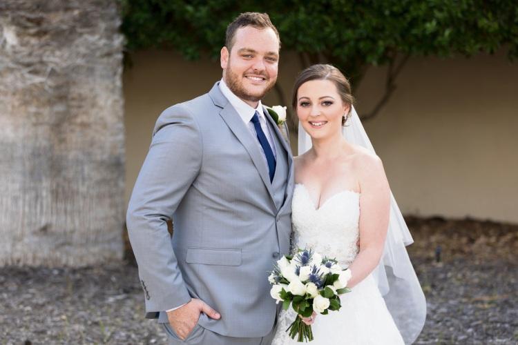 Amelia Hewison and Robi Boscarino on their wedding day.