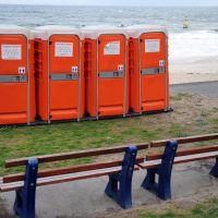 Portable toilets on Cottesloe beach.