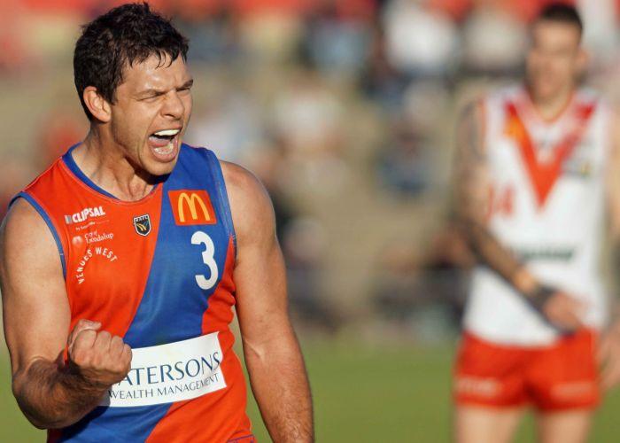 Andrew Strijk celebrates one of his four majors against South Fremantle on Sunday. Picture: Matt Beilken