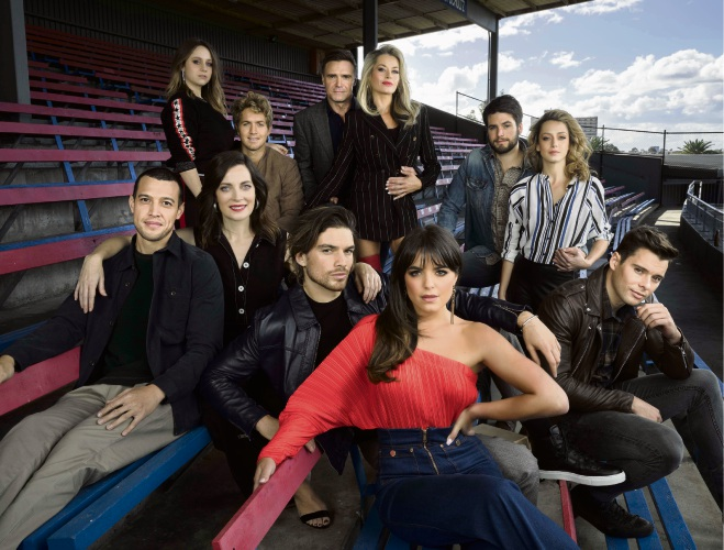 Olympia Valance (front centre) with the cast of <em>Playing For Keeps</em>.