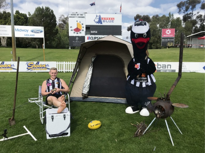Swan Districts colts player Kane Edwards setting up for the Swans Big Camp Out.