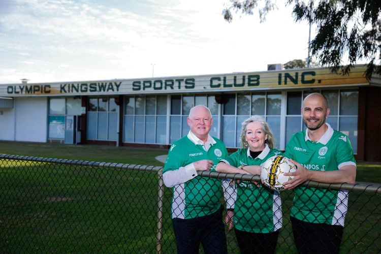 Wanneroo councillor Brett Treby, Mayor Tracey Roberts and Olympic Kingsway Sports Club president Steven Nelkovski.