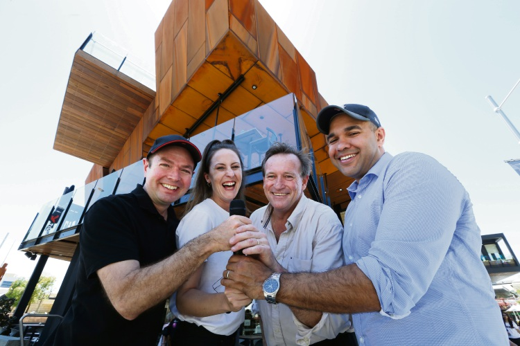L-R Alex Manfrin (Laugh Resort president), Sian Choyce (comedian), Paul Higgins (The Shoe Bar and Cafe publican) and Craig Quartermaine (comedian). Picture: Andrew Ritchie d488659