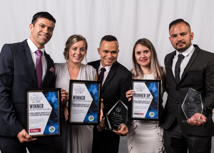 Leonardo Castiblanco with the team at Global Company Services trading as Appliance Parts Solutions and WBA business liaison officer Lauren Bell at the 2018 awards. Picture: Jacek Bak Photography