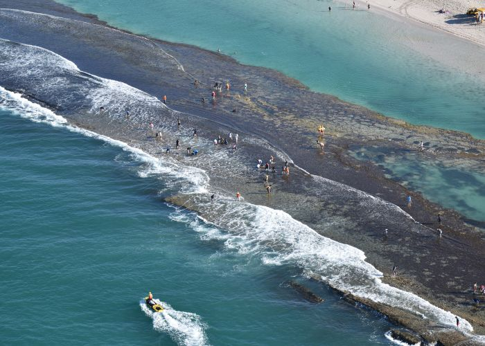 Abalone fishers on the reef at Yanchep Lagoon. Picture: Westpac Lifesaver Rescue Helicopter