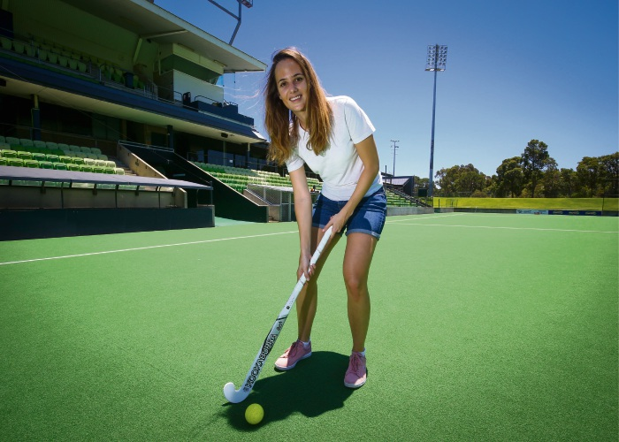 FIH Pro League manager Mathilde Grenet during her recent visit to check out Perth Hockey Stadium. Picture: David Baylis