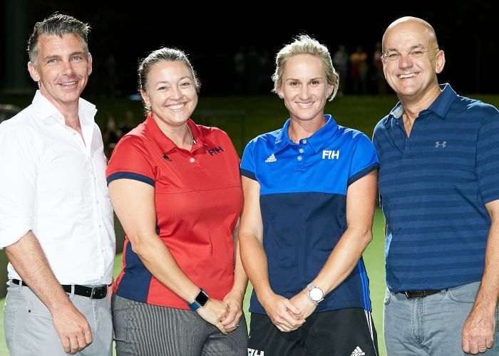 Hockey officials Tammy Standley and Shayley McGurk-Davy, flanked by Hockey WA chief executive Stu Gilsenan and president Garry Fitzpatrick.