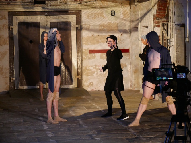 Johanna Nuutinen filming at Fremantle Prison with WA Ballet dancers.