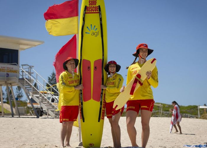 Pictured (L-R) Liam Burke (Freo SLSC), Kate Irwin Scarbs (SLSC), Bridget Darragh (City of Perth SLSC) Picture: Will Russell www.communitypix.com.au   d490059