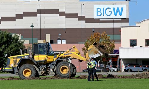 The first stages of the Midland Oval redevelopment started last year with a frontend loader removing turf. Picture: David Baylis d484001e