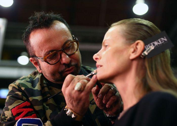 Napoleon Perdis backstage at Mercedes-Benz Fashion Week in 2017 in Sydney. Picture: Zak Kaczmarek/Getty Images