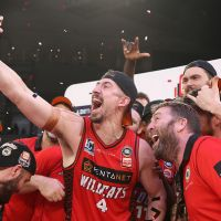Wildcats vice-captain Greg Hire takes a selfie with the team after winning the NBL championship in his last game. Picture: Paul Kane/Getty Images