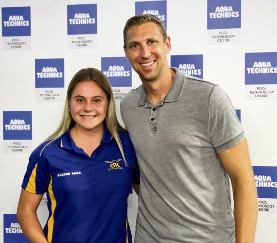 Jade Mann with Shawn Redhage from the Perth Wildcats.