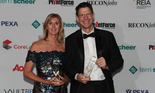 Rentwest Solutions director Suzanne Brown with Mint Real Estate director Peter Clements.