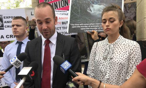 James Warden, lawyer Chad Silver and Katrina Sobianina outside Mandurah Magistrates Court.
