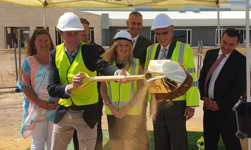 Pearce MHR Christian Porter breaks the ground for stage two at Northshore Christian Grammar School.