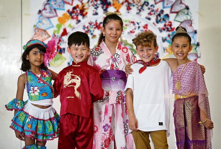 Students Milana Mohess, Lucas Liu, Maya States, Orsen El Sayed and Phoebe Scott celebrate Harmony Day. Picture: David Baylis
