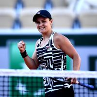 Ashleigh Barty celebrates victory during a match at the 2019 French Open. Picture: Clive Mason/Getty Images
