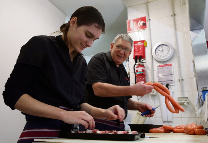 Sarah Craig with Shanks Butchers owner Ken Asquith. Picture: Martin Kennealey d493662