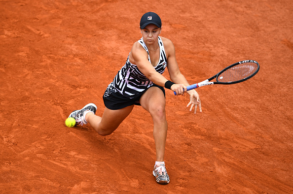 Ashleigh Barty of Australia plays a backhand during the ladies singles final against Marketa Vondrousova of The Czech Republic during Day fourteen of the 2019 French Open. Picture: by Clive Mason/Getty Images