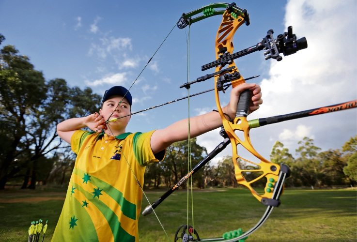 Jai Francis will represent Australia in the World Youth Archery Championships in Madrid Spain in August. Picture: David Baylis