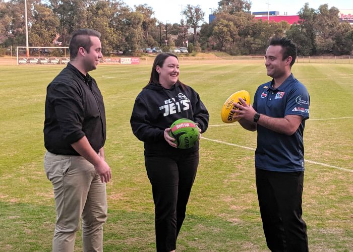 Youth Disability Advocacy Network executive chair Jesse Williams, Joondalup MLA Emily Hamilton and ECU Jets president Trent Barron.