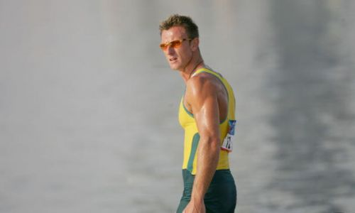 Nathan Baggaley of Australia competes during the men's K-1 class 1,000 metre final during the Athens 2004 Summer Olympic Games. Picture: Stuart Franklin/Getty Images