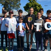 WA's representatives for the 2019 National Indigenous Tennis Carnival. Back: Shania Kent (11), Malakai Dickie (13), Tia Bellotti (11), Andrew Dickie (14). Front: Kale Stanton (11), Xavier Dickie (11), Angel Dickie (12) and Sebastian Savarese (12). Absent are Lesley Snowball and Jackson Phillips.